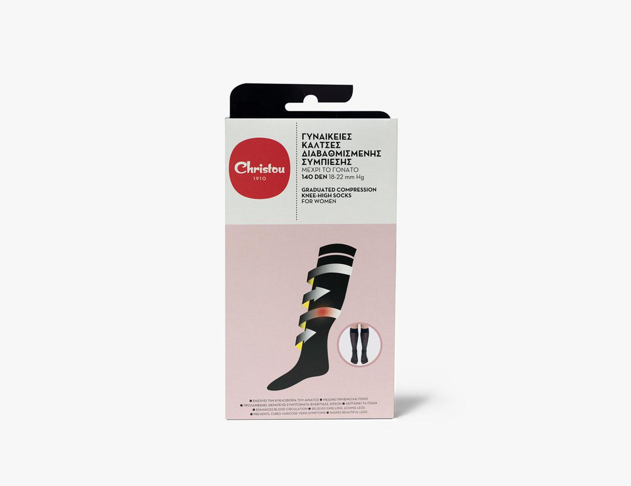 Graduated Compression Knee-High Socks for Women 140 DEN